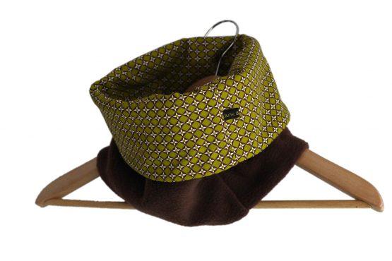 Snood mixte adulte tissu graphique vert pistache polaire marron chocolat réversible tour de cou géométrique unique fait main mode - Julie & COo