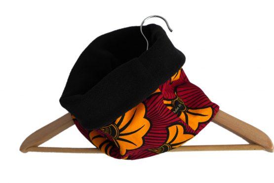 Tour de cou wax enfant unisexe tissu fleurs de mariage rouge foncé jaune orange noir polaire réversible ethnique mode chaud hiver ski snood écharpe - Julie & COo