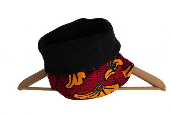 Tour de cou wax femme adulte tissu fleurs de mariage rouge foncé jaune orange noir polaire réversible ethnique mode chaud hiver ski snood écharpe - Julie & COo