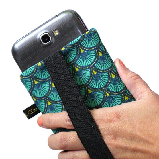Housse iPhone Apple 11 Pro Max étui tissu écailles japonaises graphique bleu émeraude téléphone portable samsung S10+ fermeture élastique doré - Julie & COo