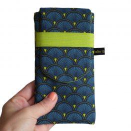 Housse iPhone 11 Pro étui tissu écailles japonaises graphique bleu vert téléphone portable samsung S10 - Julie & COo