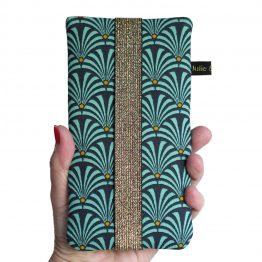 Housse de téléphone iPhone Apple 11 Pro Max étui tissu éventails japonaises graphique bleu turquoise portable samsung S10+ fermeture élastique doré brillant - Julie & COo