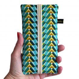 phone portable tissu pochette femme iPhone Samsung motifs graphique pharaon ethnique bleu turquoise élastique doré étui rigide - Julie & COo