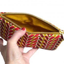 Étui à lunettes femme pochette simple zip doré tissu graphique ethnique rouge jaune curry - Julie & COo