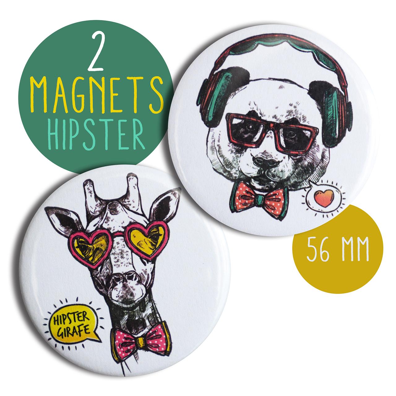 Lot de 18 magnets hipster panda girafe rond 18 mm aimant frigo cuisine  illustration décoration blanc cadeau original amusant