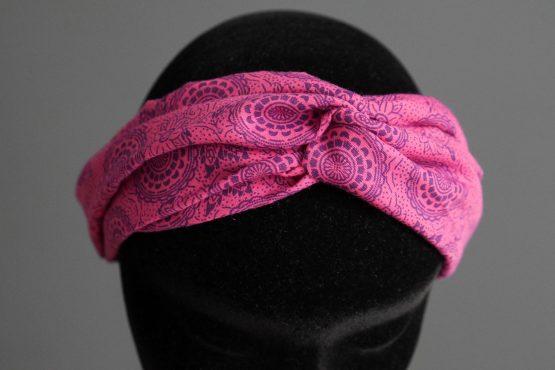 Headband twisté femme tissu rose fuchsia - Julie & COo