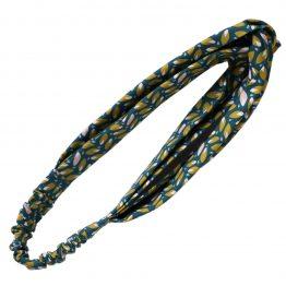 Headband twisté tissu feuilles bleu pétrole demi turban bandeau cheveux femme mode - Julie & COo