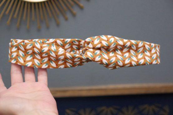 Headband twisté tissu feuilles caramel demi turban bandeau cheveux femme mode - Julie & COo