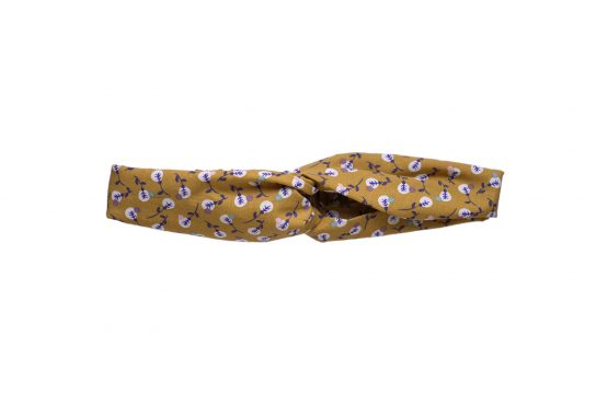 Headband twisté tissu fleurs jaune curry demi turban bandeau cheveux femme mode - Julie & COo