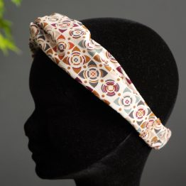 Headband twisté tissu mosaïque crème caramel graphique demi turban bandeau cheveux femme mode - Julie & COo