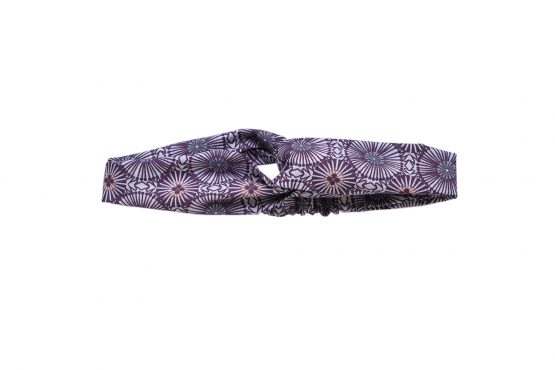 Headband twisté tissu rosaces prunes graphique demi turban bandeau cheveux femme mode - Julie & COo