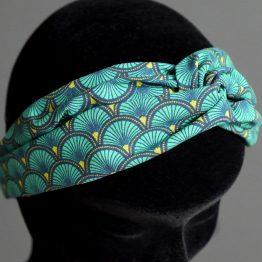 Headband twisté femme tissu écailles japonaises graphiques bleu émeraude turban mode coiffure - Julie & COo