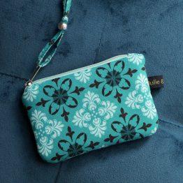 Mini porte-monnaie pochette femme zippée tissu motifs baroque bleu turquoise marron menthe carte crédit - Julie & COo