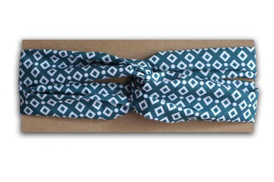 Headband bandeau cheveux twisté tissu graphique losanges blanc bleu vert demi turban femme mode - Julie & COo
