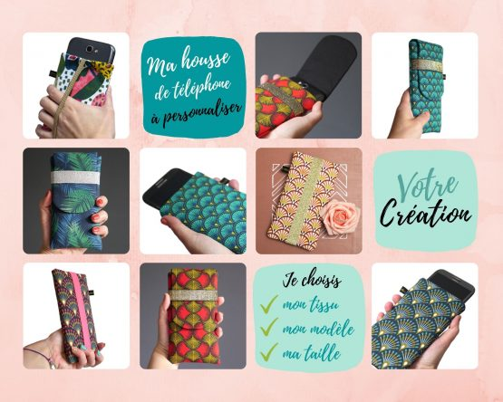 Housse de téléphone handmade chaussette à rabat tissu iphone samsung elastique or à personnaliser unique fait main - Julie & COo