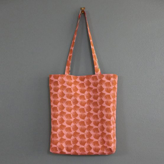 Totebag fleurs tissu réversible fait main sac femme bleu rose coloré automne cadeau fait main Noël anses - Julie & COo