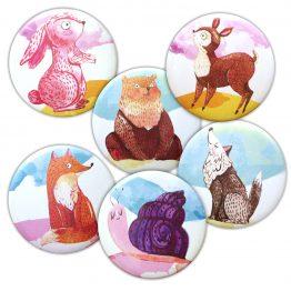 Magnet animaux aquarelle coloré rond aimant frigo cuisine decoration 56 mm lapin ours renard loup faon esacargot - Julie & COo