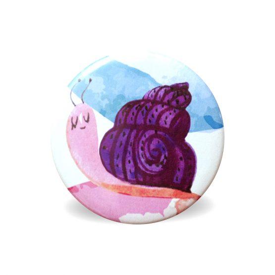 Magnet escargot violet aquarelle coloré rond aimant frigo cuisine decoration 56 mm cadeau mignon enfant - Julie & COo