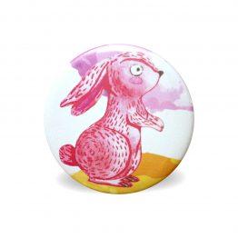 Magnet lapin rose aquarelle coloré rond aimant frigo cuisine decoration 56 mm cadeau mignon enfant - Julie & COo