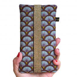 Housse iPhone Apple 11 Pro Max étui tissu écailles japonaises graphique bleu ciel téléphone portable samsung S20+ fermeture élastique doré - Julie & COo